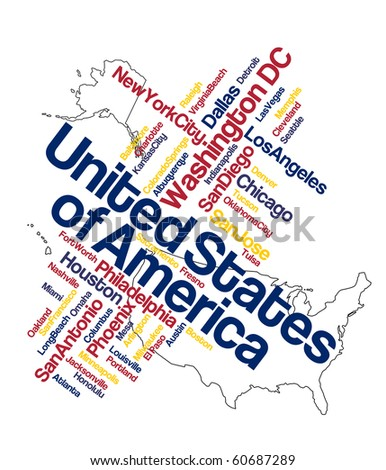 US map and words cloud with larger cities - stock vector
