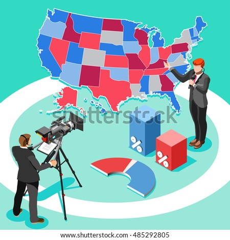 Us Map Election News Infographic Democrat Republican Convention Hall Party Presidential Debate Endort