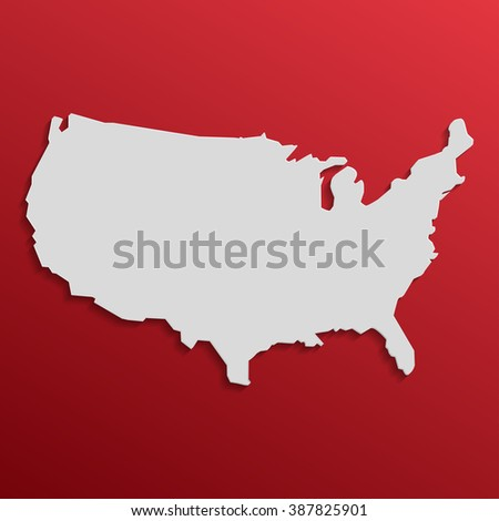 US  Map in gray with shadows and gradients on a red background