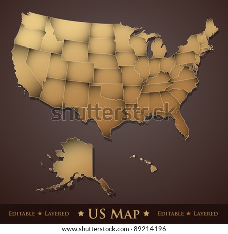 Usa Map United States America All Stock Vector Shutterstock - Us map with editable states
