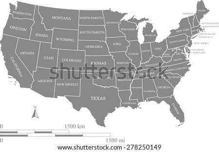 US map outlines with kilometer and mileage scales and capital location and name, Washington DC, vector map of United States with polygons of US states and their names in grey color background - stock vector