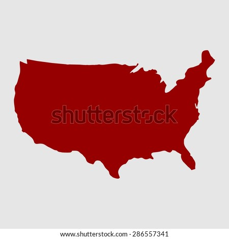 us map. red USA map. US icon. template. - stock vector