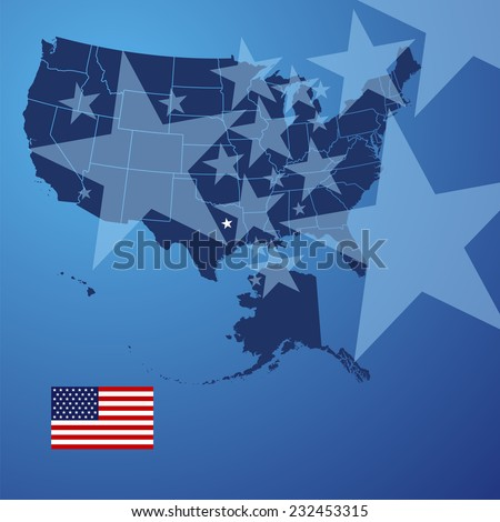 US map stars cover vector - stock vector