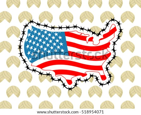 Us Map Barbed Wire America Closes Stock Vector - Us map of immigrants