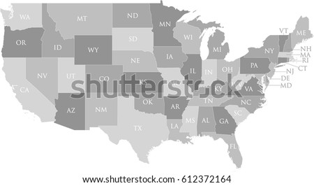Us Map State Name Postal Abbreviation Stock Vector - Us map with states abbreviated