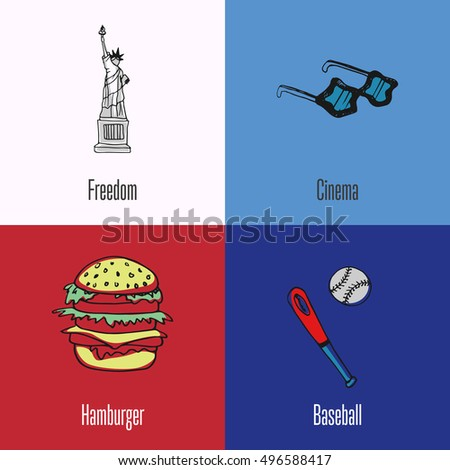 Us National Cultural Political Culinary Sports Stock Vector Hd