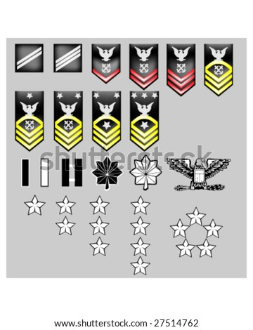 US Navy rank insignia for officers and enlisted in vector format with texture