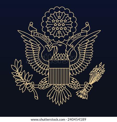 US passport seal gold on dark blue background. Vector image. - stock vector