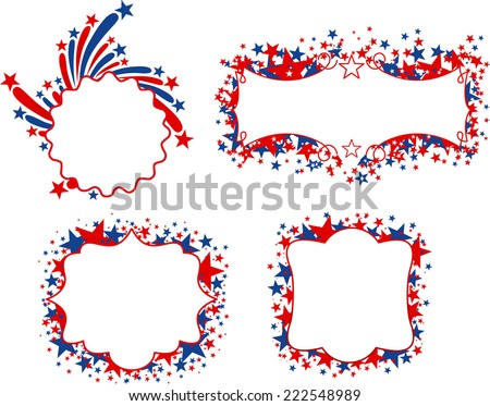 US patriotic banners with blank space to fill in. Four different United States of America banners with stars in red and blue. Vector illustrations. - stock vector