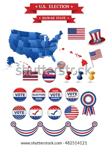 Us Presidential Election 2016 Hawaii State Including High Detailed Map Of Hawaii Perfect For