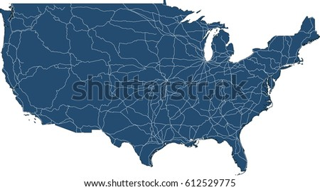 Usa Map States Capital Cities Vector Stock Vector Us Network Map