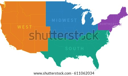 Us Regional Map Stock Vector Shutterstock - Regional us map