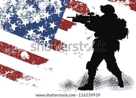 US soldier with the American Flag on the background - stock vector
