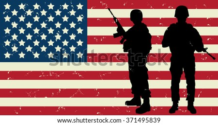 US Soldiers Front of the American Flag. Vector Illustration - stock vector