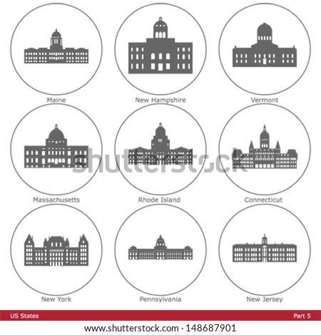 US States - symbolized by the State Capitols (Part 5) - stock vector