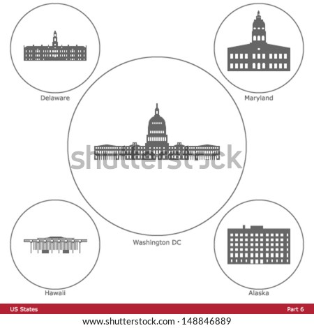US States - symbolized by the State Capitols (Part 6) - stock vector