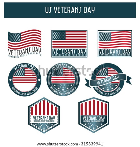 US veterans day - flags and ribbons  - stock vector