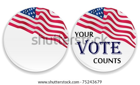 US vote button with USA flag with blank - stock vector