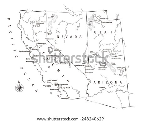 Map West Coast America Stock Images RoyaltyFree Images Vectors - Map of west coast of us