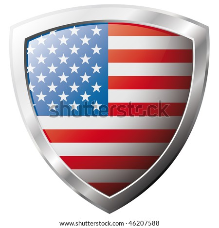 USA - america flag on metal shiny shield vector illustration. Collection of flags on shield against white background. Abstract isolated object. - stock vector
