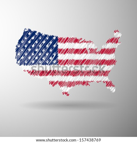 USA America map flag  icon sketch in vector format - stock vector
