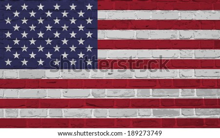 USA, American  flag on brick textured background