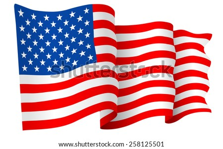 USA American flag waving - vector illustration isolated on white background. - stock vector