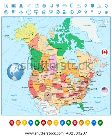 Usa Canada Large Detailed Political Map Stock Vector - Map of usa and canada