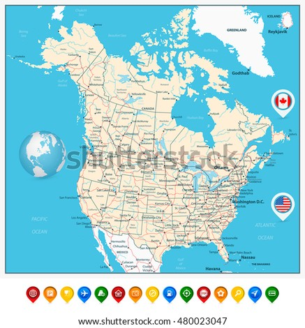 Usa Canada Large Detailed Political Map Stock Vector - Us and canada vector map