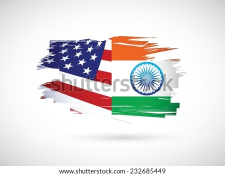 usa and india illustration design over a white background - stock vector
