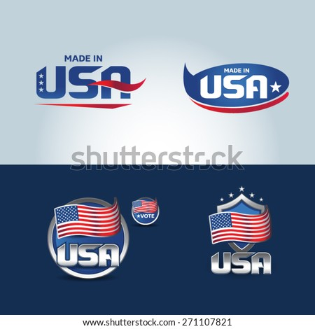 USA and made in USA icons. Set of vector icons, labels, logos. - stock vector