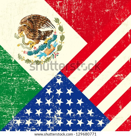USA and Mexican grunge Flag. - stock vector