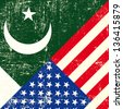 USA and Pakistani grunge Flag. this flag represents the relationship  between the pakistan and the USA - stock photo