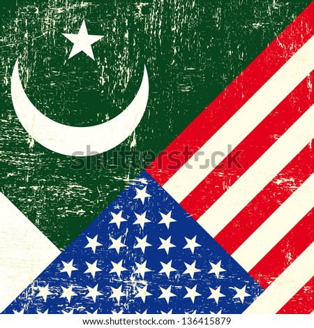 USA and Pakistani grunge Flag. this flag represents the relationship  between the pakistan and the USA