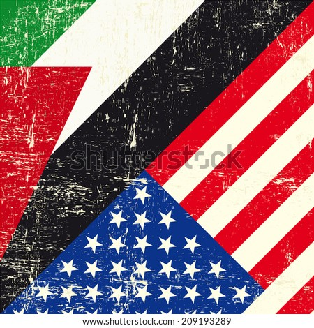 USA and palestinian grunge Flag. this flag represents the relationship  between Palestine and the USA - stock vector
