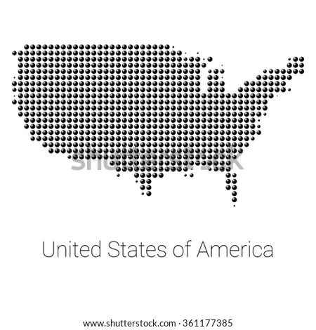 Vector Dotted United States America Map Stock Vector - Us map with states vector