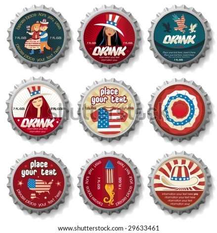 USA  bottle-caps. To see similar, please VISIT MY PORTFOLIO - stock vector