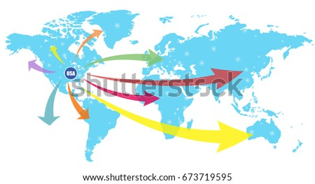 Usa business world map chart vector vectores en stock 673719595 usa business world map chart vector illustration gumiabroncs Image collections