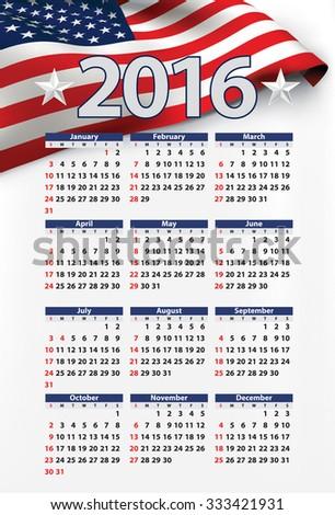 USA calendar year 2016 - stock vector
