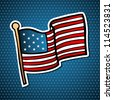 USA cartoon flag icon hand drawn style over blue stars background. Vector file layered for easy manipulation and custom coloring. - stock vector