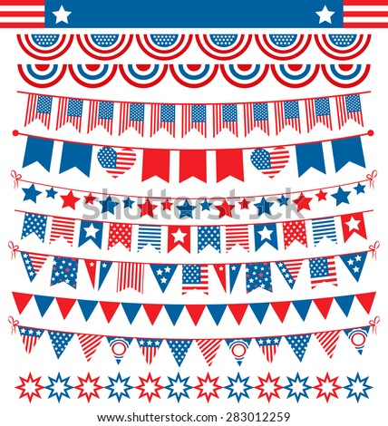 USA celebration buntings garlands flags flat national set for independence day isolated on white background - stock vector
