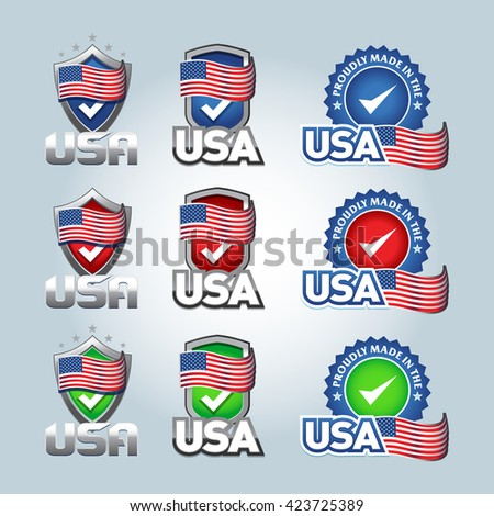 USA checkmark shield. USA and made in USA icons. Set of vector icons, labels, logos. Isolated vector illustrations. - stock vector