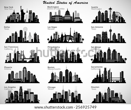 USA cities skylines set. Vector silhouettes - stock vector
