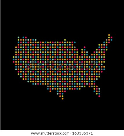 USA colorful dot map  - stock vector