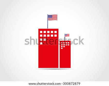 USA Company Office Building - stock vector
