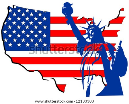 Usa Country Map Statue Liberty Stock Vector Shutterstock - Usa country map