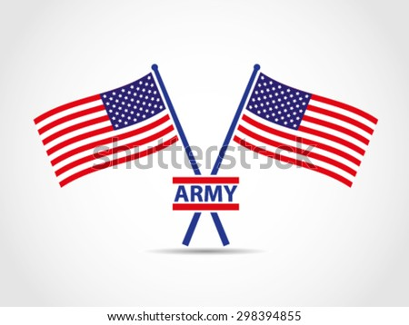 USA Crossed Emblem Flags Army - stock vector