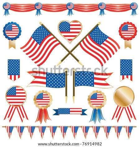 usa decorative ribbons, flags and rosettes isolated on white - stock vector