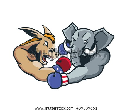 USA Democrat Vs Republican Election 2016 Cartoon -  Aggressive Boxing Day Match - stock vector
