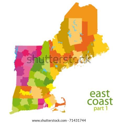 usa east coast vector map - stock vector